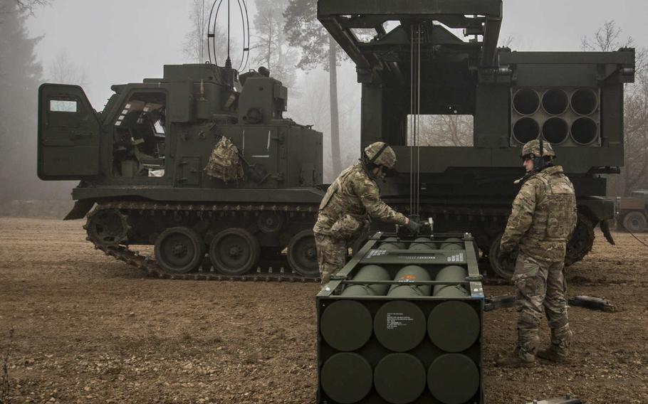 Soldiers load reduced-range practice rockets to be used during a live-fire exercise Jan. 27, 2020, in Grafenwoehr, Germany.