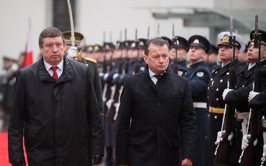 Lithuanian Defense Minister Raimundas Karoblis, left, met with his Polish counterpart Mariusz Blaszczak in Vilnius, Lithuania, Jan. 29, 2020. Poland and Lithuania each agreed to reinforce Poland's Suwalki Gap, which abuts Russia's military exclave of Kaliningrad.