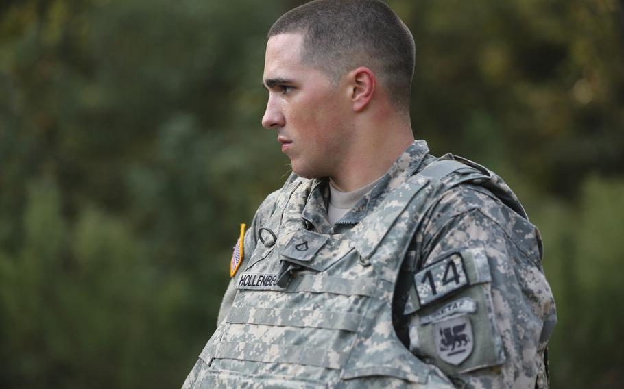 Then-Pfc. Brian K. Hollenbeck during the Army's ''Best Warrior'' competition at Fort Lee, Va., in 2014, which he won. Convicted of sexually assaulting his sleeping mother-in-law three years ago, he was again found guilty in a retrial in January 2020.