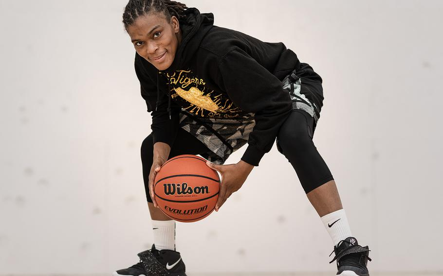 Sgt. 1st Class Lastephanie Frazier of the 509th Signal Battalion spends her time off-duty on the basketball court. She's the only American on an Italian semi-professional team based in Padua.