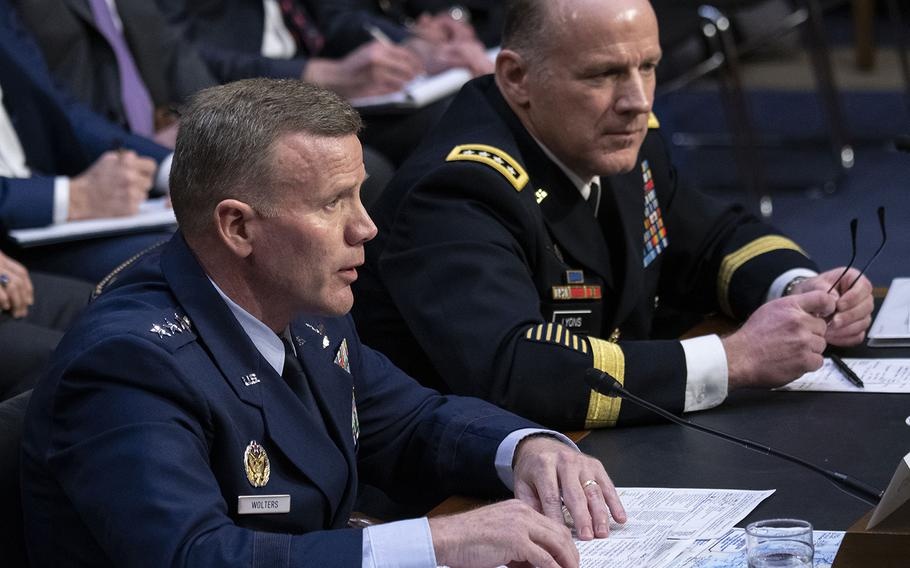 EUCOM Commander and NATO Supreme Allied Commander Europe Gen. Tod D. Wolters testifies at a Senate Armed Services Committee hearing on Capitol Hill, Feb. 25, 2020. Next to him is Gen. Stephen R. Lyons, commander of the U.S. Transportation Command. Joe Gromelski/Stars and Stripes