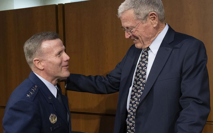 EUCOM Commander and NATO Supreme Allied Commander Europe Gen. Tod D. Wolters talks with Senate Armed Services Committee Chairman James Inhofe, R-Okla., before a hearing on Capitol Hill, Feb. 25, 2020. Joe Gromelski/Stars and Stripes