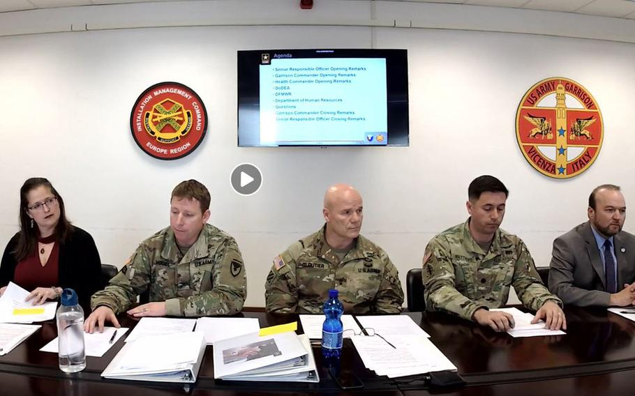 U.S. Army Africa commander Maj. Gen. Roger Cloutier, center, and other U.S. military officials in Italy hold a Facebook Live meeting Thursday to address community concerns about the coronavirus. More than 500 cases of coronavirus and 14 deaths have been confirmed throughout Italy.