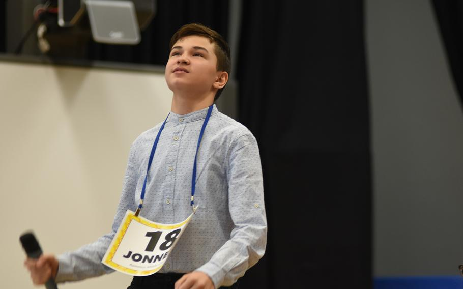 Jonnen Messer, a seventh grader at Ramstein Middle School, Germany, reacts to winning the European PTA Regional Spelling Bee on Saturday, Feb. 29, 2020. Messer competed against 27 other spellers from Defense Department schools in Europe.