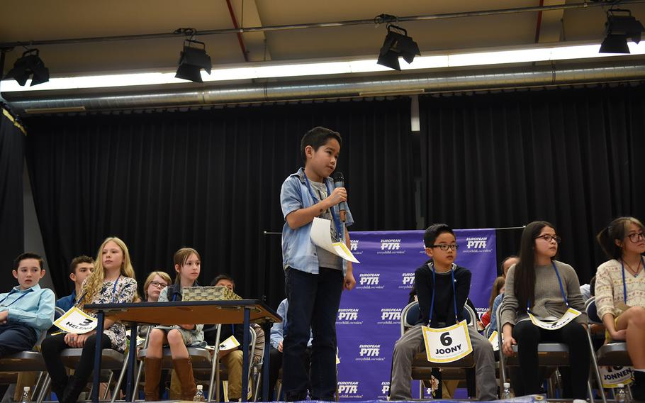Marcos Lopez, a fourth grader at Ramstein Intermediate School, Germany, competes at the European PTA Regional Spelling Bee on Saturday, Feb. 29, 2020, at Ramstein Air Base. Twenty-eight students from Defense Department schools in Europe vied for a trip to the national spelling bee this spring in Washington, D.C.