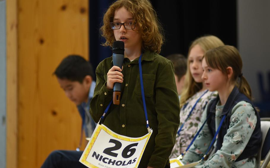 Nicholas Benedetti, a student at Rota Elementary School, Spain, spells a word at the European PTA Regional Spelling Bee on Saturday, Feb. 29, 2020, at Ramstein Air Base, Germany.