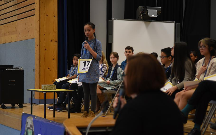Aliza Ignacio, a student at Vogelweh Elementary School, Germany, was one of 28 students to compete at the European PTA Regional Spelling Bee on Saturday, Feb. 29, 2020, at Ramstein Air Base, Germany.