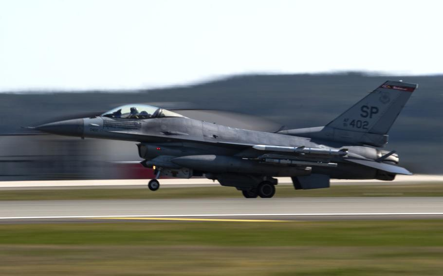 A U.S. Air Force F-16 Fighting Falcon assigned to the 480th Fighter Squadron lands after routine flight training at Spangdahlem Air Base, Germany, March 23, 2020.