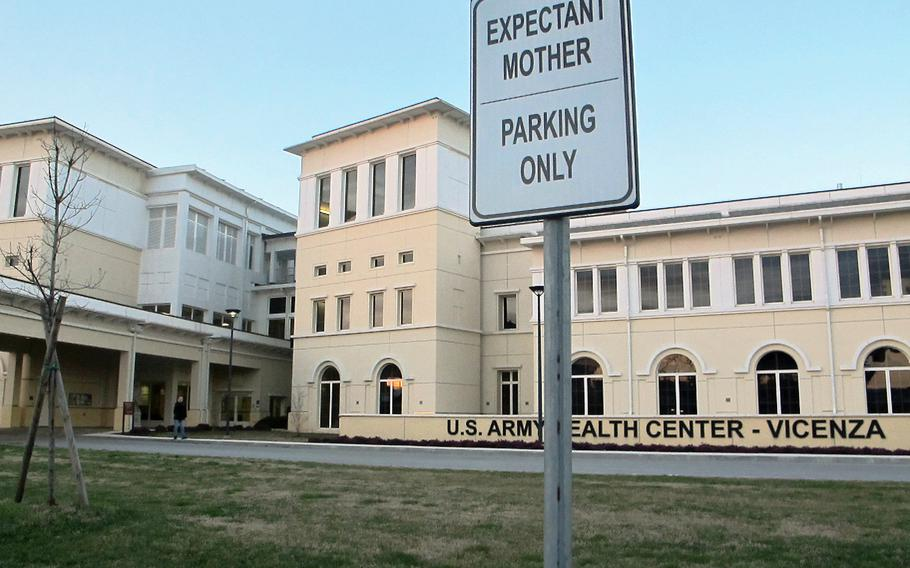 The Army Health Center in Vicenza, Italy. Pregnant women in the U.S. military community will likely have to give birth without their spouses or other support people after the local Italian hospital barred nearly all visitors because of the coronavirus.