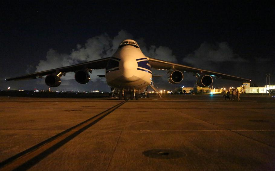 A Russian Antonov An-124 Ruslan plane is on the runway at Marine Corps Air Station Futenma on Okinawa, Japan in 2016. Russia says it has sent coronavirus relief supplies in the same type of aircraft to the United States.