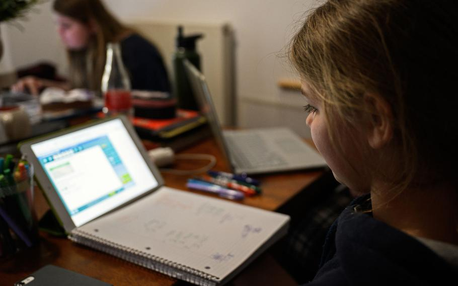 Kendal Morgenweck, a fifth grader at Hohenfels Elementary School, does her daily online assignments from home, March 26, 2020, at Hohenfels Training Area. Some DODEA schools in Europe are adjusting their digital learning schedules to accommodate families with more than one school-age child and to reduce time online and workload for some students.