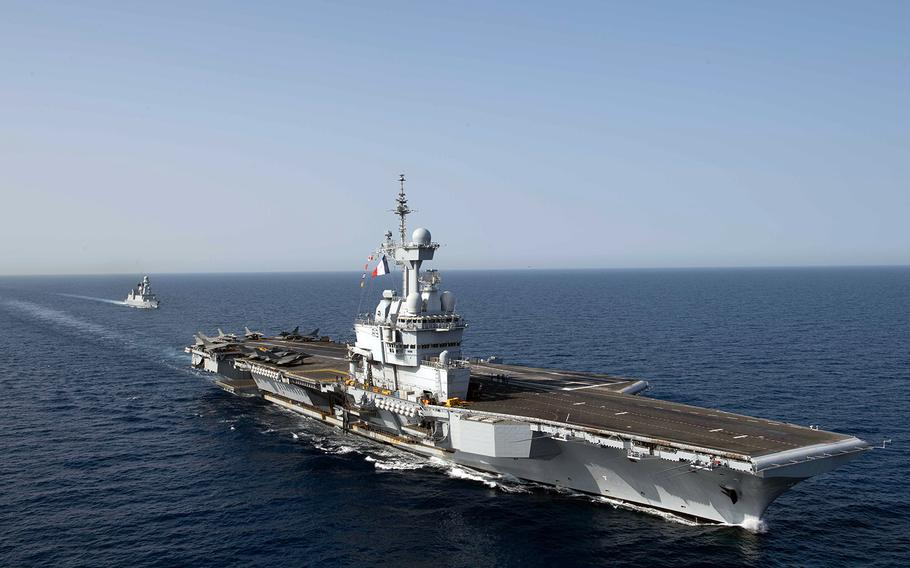The French aircraft carrier FS Charles De Gaulle streams through the Red Sea, April 15, 2019.