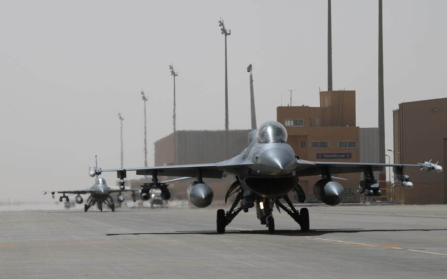 Two Air Force F-16 Fighting Falcons with the 555th Fighter Squadron taxi on the flight line at Prince Sultan Air Base, Saudi Arabia, Feb. 26, 2020. The squadron recently returned to Aviano Air Base, Italy, from a six-month deployment.