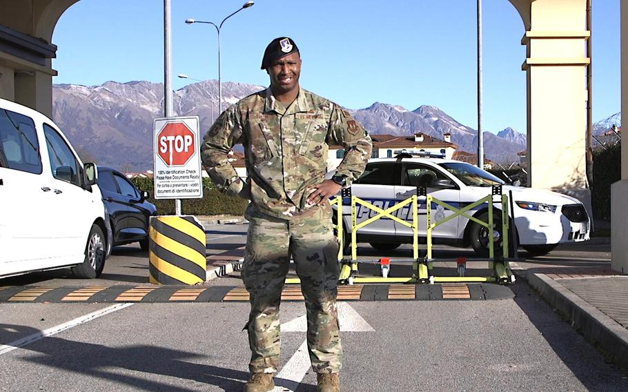 Tech. Sgt. Tyree Porter, vault storage area supervisor at the 31st Security Forces Squadron, stands in front of an upgraded mobile vehicle barrier at Aviano Air Base, Italy, Feb. 21, 2020.