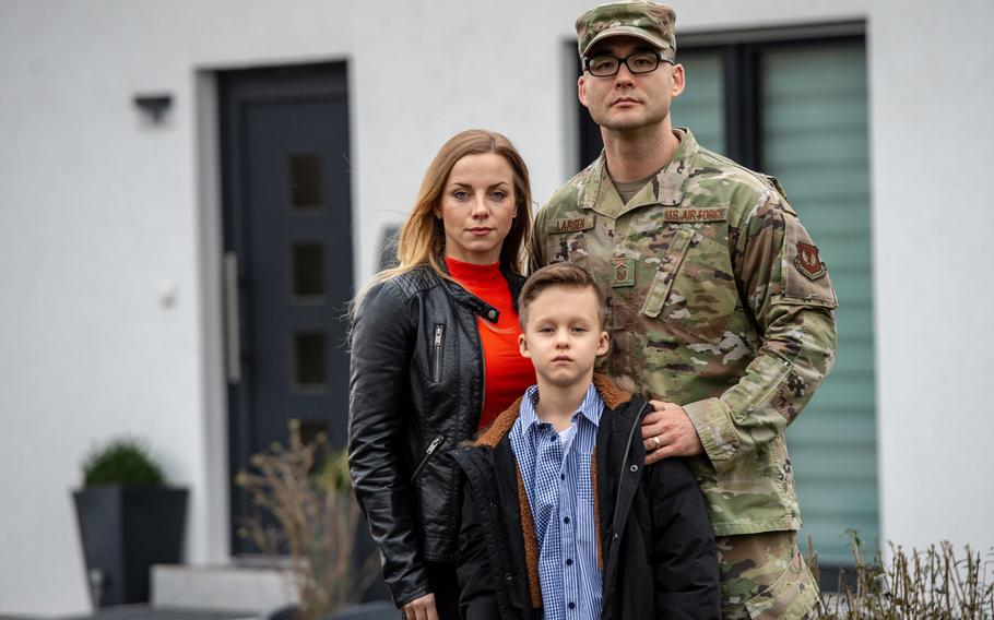 Master Sgt. Matthew Larsen, wife Kathrin and son Jayden stand in front of their house in Reichweiler, Germany, March 11, 2020. German tax authorities are demanding that Larsen, an active duty airman, pay German income tax. U.S. Army Europe says it will step up efforts to warn troops and civilians of the risks they face when it comes to getting taxed by German authorities.