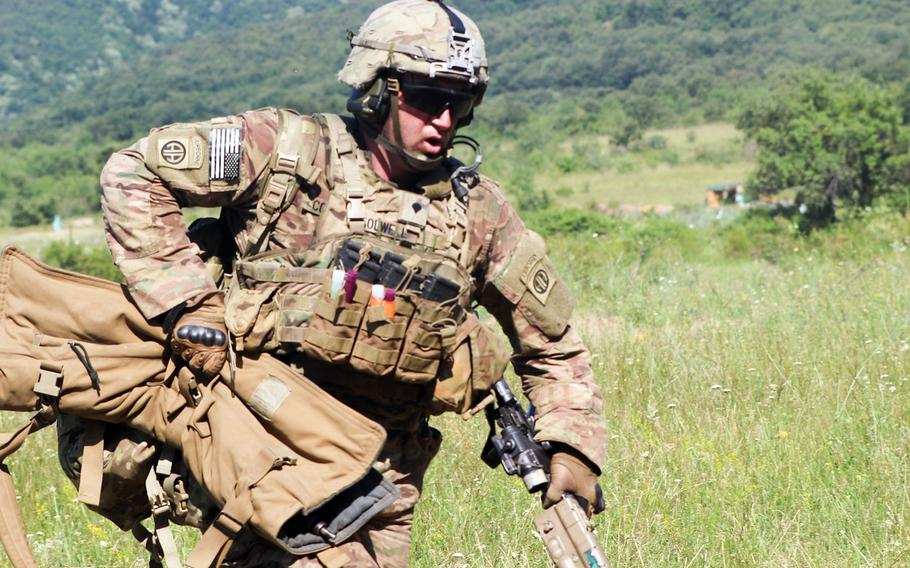 A U.S. Army paratrooper from the 2nd Brigade Combat Team, 82nd Airborne Division, bounds to an alternate fighting position during an exercise at Novo Selo Training Area, Bulgaria in June 2019. Soldiers of the 2nd BCT will be heading to Iraq this summer as part of a regular rotation of forces to support the campaign against ISIS.
