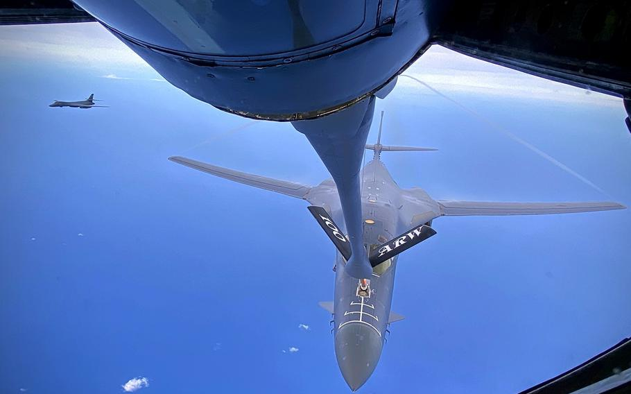 A B-1B Lancer from the 28th Bomb Wing out of Ellsworth Air Force Base, S.D., receives fuel from a KC-135 Stratotanker from the 100th Air Refueling Wing, RAF Mildenhall, England, May 5, 2020.