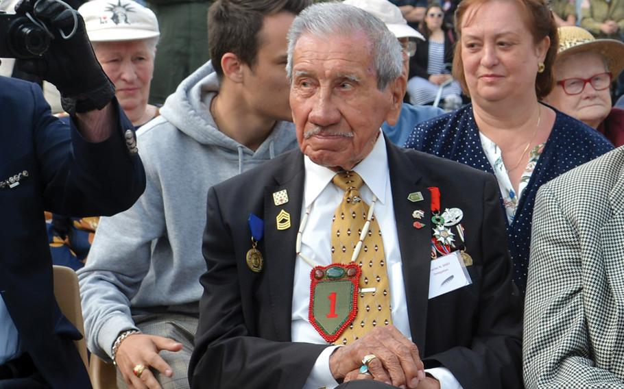 World War II veteran Charles Shay at a D-Day 75th anniversary ceremony in Picauville, France, June 2019. On May 8, 1945, V-E Day, Shay was in Bremerhaven, Germany, waiting for a boat to return home.