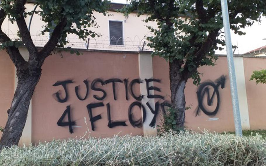 """""""Justice 4 Floyd!"""" is one of the slogans spray-painted on the perimeter wall at Caserma Ederle, which hosts U.S. Army Garrison Italy and U.S. Army Africa, on Monday, June 2, 2020. The graffiti, which was part of a brief gathering protesting the killing of George Floyd, had been removed by Tuesday."""
