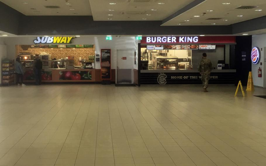 The food court at U.S. European Command's Patch Barracks headquarters in Stuttgart is deserted on Wednesday, March 18, 2020. Garrison officials plan to return tables and chairs to food courts, which are set to reopen Monday as coronavirus cases in Stuttgart decline.