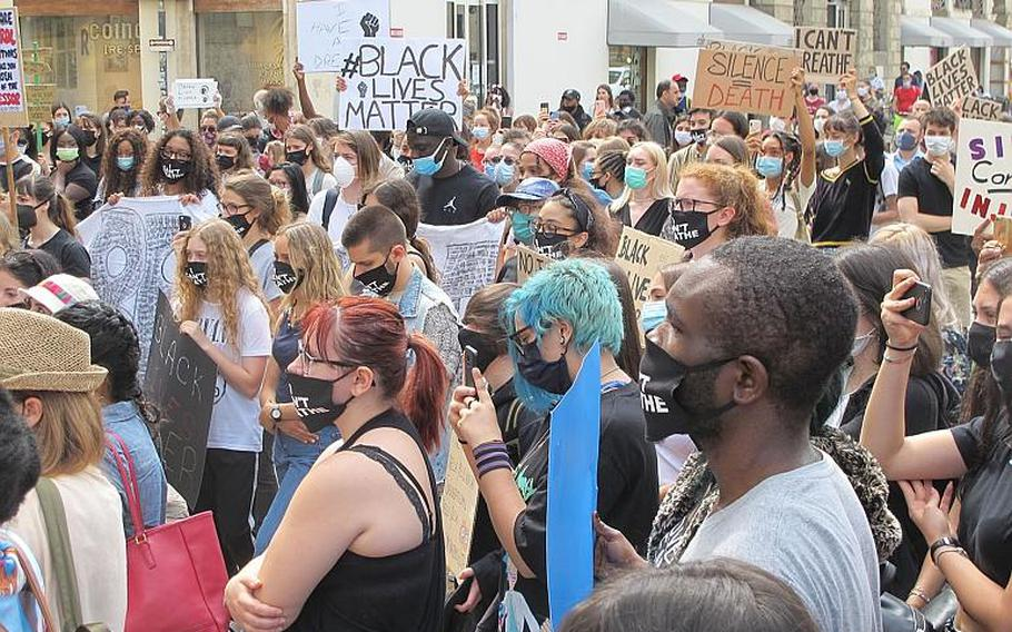 At least 100 people gathered in the Piazza Castello in Vicenza, Italy, on Saturday, June 6, 2020, including many Americans, to protest the killing of George Floyd by Minneapolis police. The peaceful protest lasted about two hours while a handful of Italian police looked on.