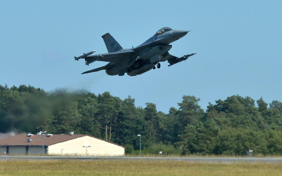 A Spangdahlem Air Base, Germany-based F-16 jet from the 480th Fighter Squadron takes off from the base in August 2018. The squadron might move under President Donald Trump's plan to remove 9,500 troops from Germany, The New York Times reported Friday.