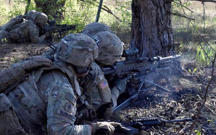 Soldiers with the Enhanced Forward Presence Battle Group fire rounds downrange during their exercise on Bemowo Piskie Training Area in Orzysz, Poland, June 2, 2020. The U.S. and Poland are still negotiating an American troop boost in Poland, officials from both countries have said.