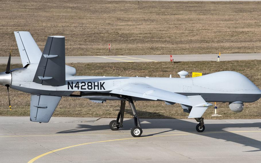 A remotely piloted MQ-9 Reaper taxis toward the runway at Miroslawiec Air Base, Poland, March 1, 2019. The Reapers from the 52nd Expeditionary Operations Group Detachment 2 based in Poland have been moved to Estonia while runway work is being done at the base.