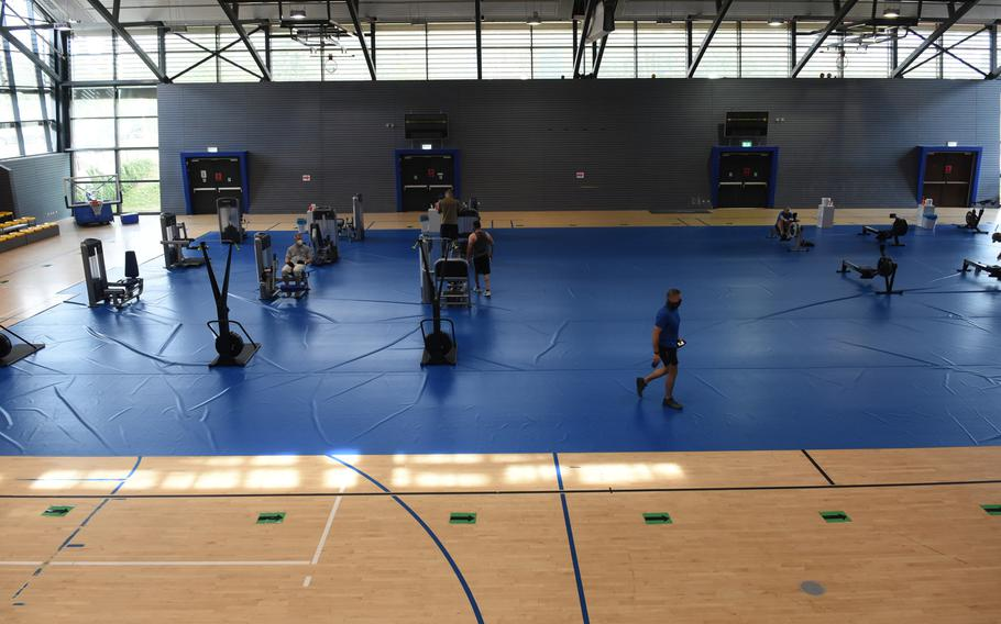 Weight and cardio machines are spread out on the basketball court inside the Southside Fitness Center at Ramstein Air Base, Germany. The gym reopened on Monday, June 15, 2020, after being closed since March due to the coronavirus pandemic.