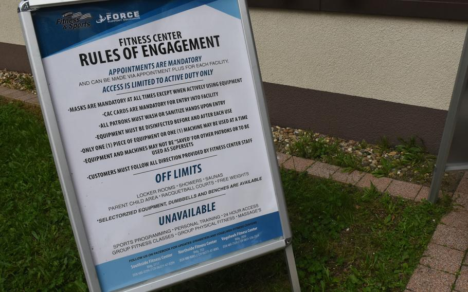 A sign outside the Southside Fitness Center at Ramstein Air Base, Germany, lists the safety and hygiene guidelines in place to reduce the spread of germs. The gym reopened for the first time on Monday, June 15, 2020, since closing in March due to the coronavirus pandemic. Only active duty members can use the gym for now and must make appointments online.