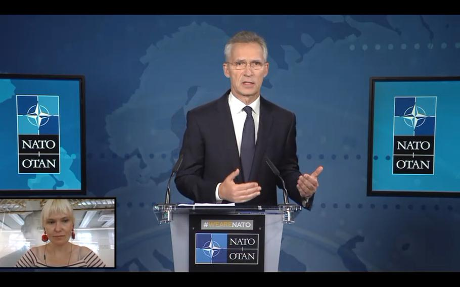In this screen shot, NATO Secretary-General Jens Stoltenberg answers a question from NPR/Deutsche Welle's Teri Schultz during a virtual press conference, Tuesday, June 16, 2020, ahead of Wednesday's NATO defense ministerial meeting.