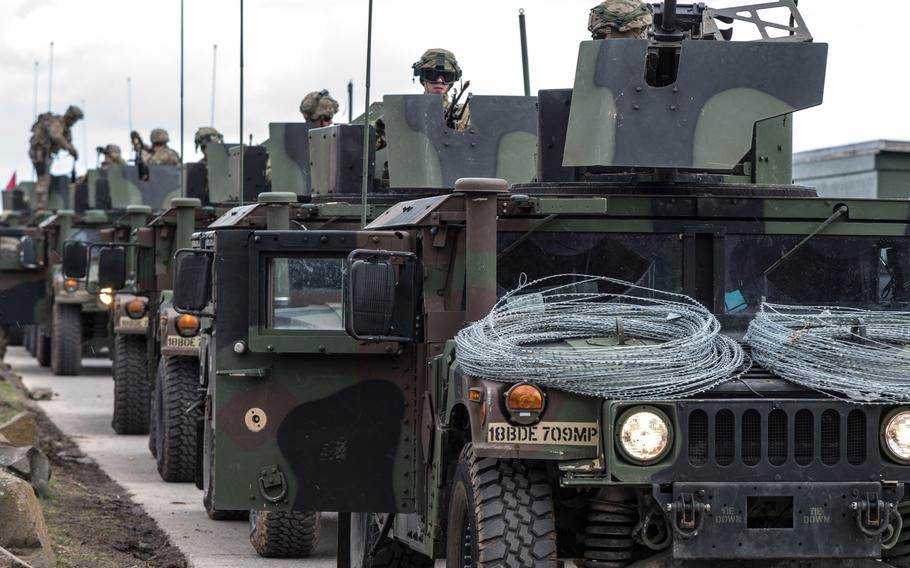 Soldiers of the 92nd Military Police Company prepare for a convoy live fire exercise at the Baumholder, Germany, military training area in March 2019. Democratic lawmakers have introduced legislation that would block President Donald Trump's push to withdraw nearly 10,000 troops from Germany, warning that such a move would have catastrophic security consequences for the U.S.