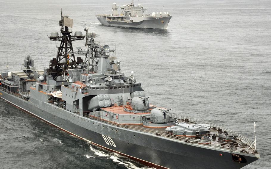 The Russian navy anti-submarine ship Severomorsk sails with the U.S. 6th Fleet flagship USS Mount Whitney during a joint exercise in 2010. A buildup by Russia is turning the eastern Mediterranean Sea into one of the world?s most militarized zones, Adm. James Foggo, head of U.S. Naval Forces Europe and Africa, says.