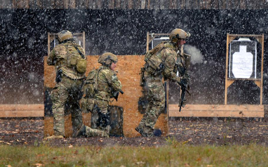 U.S. soldiers assigned to 1-10th Special Forces Group maneuver through a shooting range during a weapons training exercise at the Panzer Range Complex, in Boeblingen, Germany, in November 2016. The Army said on July 7, 2020, that it will pay $1.6 million to construct barrier walls at two open-air sites at the suburban Stuttgart firing range.