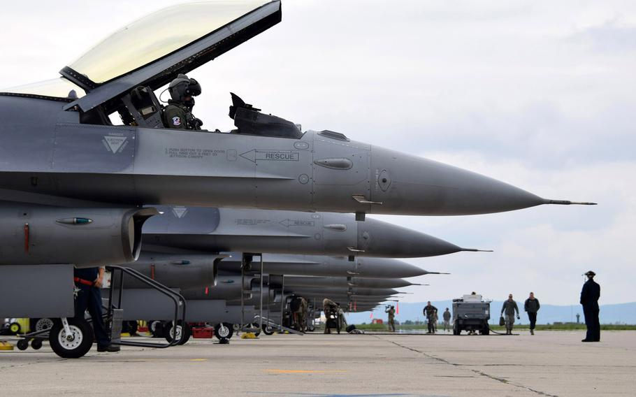 Airmen assigned to the 301st Fighter Wing, Naval Air Station Joint Reserve Base Fort Worth, Texas, prepare to launch F-16C Fighting Falcons at Campia Turzii, Romania, in May 2019.The Air Force has requested more than $130 million for renovations at the base, which could become a NATO hub in the Black Sea region.