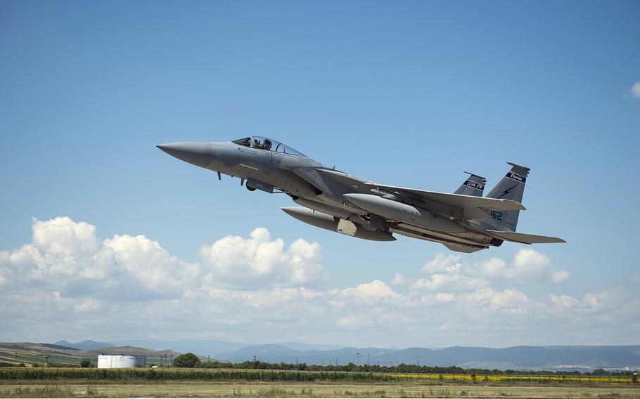 An F-15C Eagle fighter aircraft from the 159th Expeditionary Fighter Squadron takes off from Campia Turzii, Romania, in July 2017. The Air Force has requested more than $130 million for renovations at the base, which could become a NATO hub in the Black Sea region.