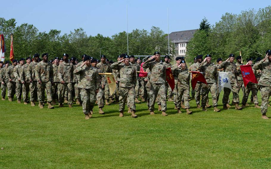 Troops pass in review at a change of command ceremony, at Baumholder, Germany in June 2019. The leaders of four German states -- Rheinland-Pfalz, Hesse, Bavaria and Baden-Wuerttemberg -- sent a letter to U.S. lawmakers, urging them to oppose troop cuts in the country.
