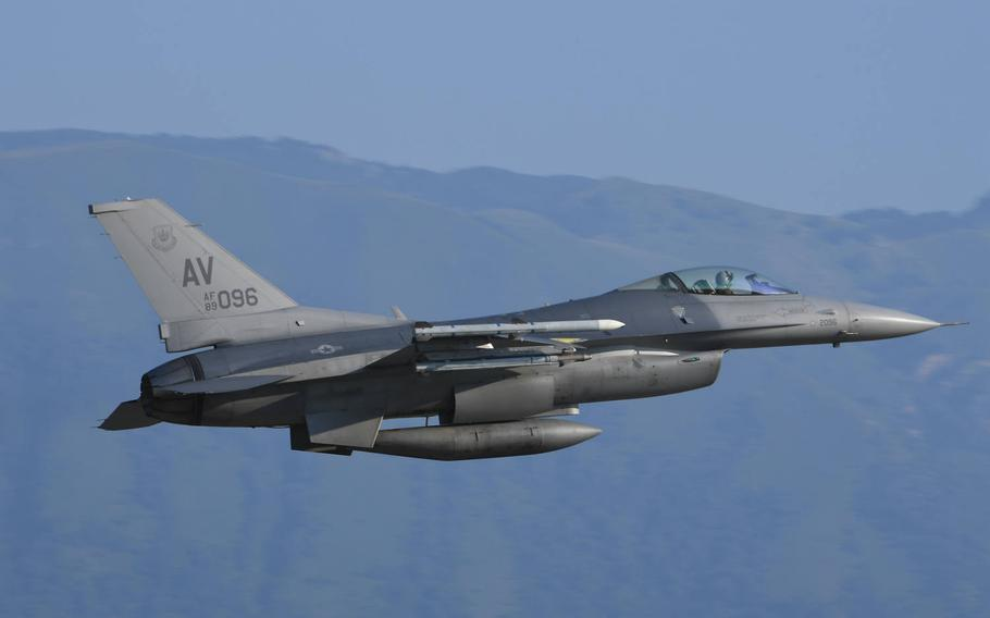 A U.S. Air Force F-16 Fighting Falcon assigned to the 510th Fighter Squadron takes off from Aviano Air Base, Italy, July 22, 2020. The F-16 particpated in an exercise over the Black Sea.