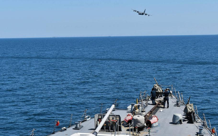 The Navy's USS Porter and an MC-130J from the Air Force's 352d Special Operations Wing participate in exercise Sea Breeze 2020 in the Black Sea, July 20, 2020.