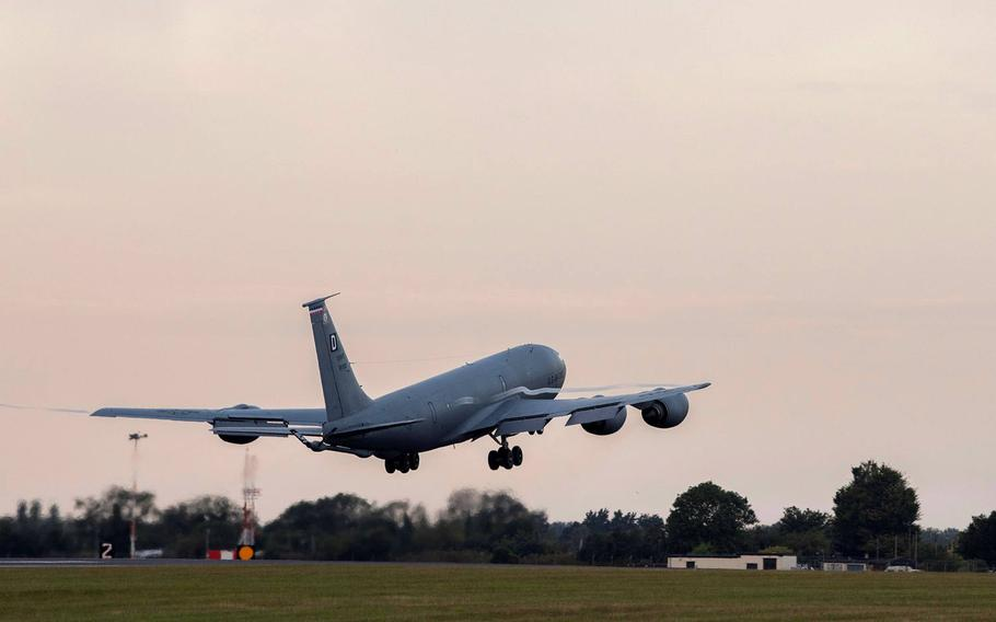 A KC-135 Stratotanker aircraft assigned to the 100th Air Refueling Wing takes off from RAF Mildenhall, England, July 22, 2020. The aircraft integrated with Air Force and Navy assets over the Black Sea, demonstrating U.S. forces? commitment to allies and partners in the region.