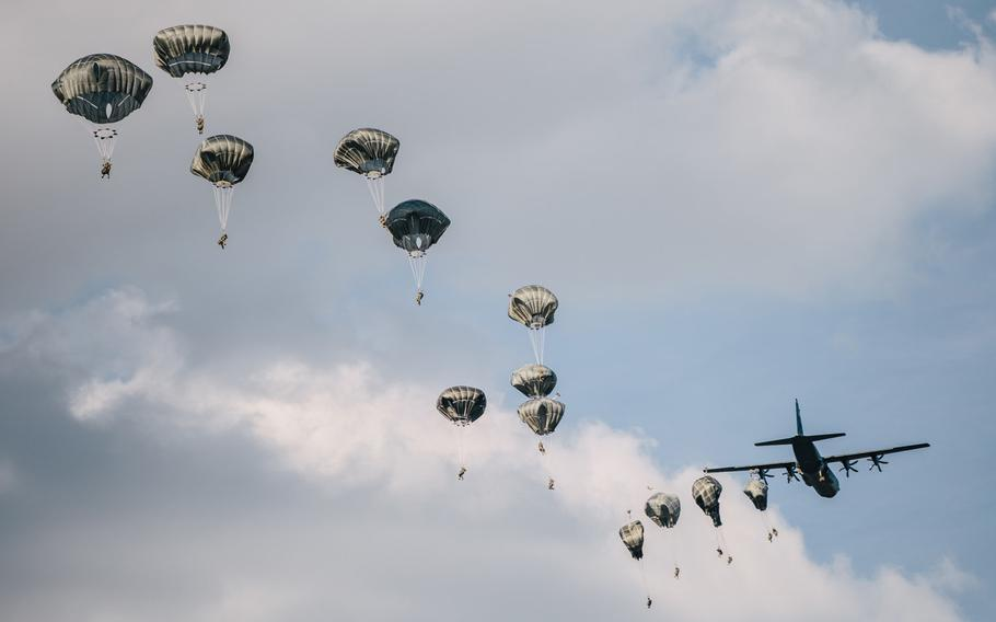U.S. Army paratroopers assigned to the 173rd Airborne Brigade exit an aircraft over Bunker Drop Zone at Grafenwoehr Training Area, Germany, July 23, 2020.