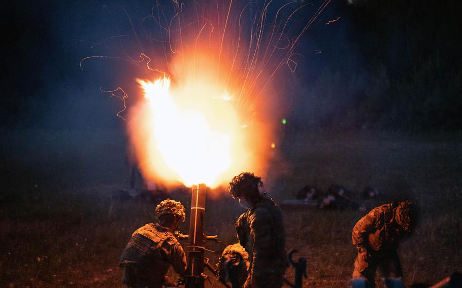 U.S. Army paratroopers from 2nd Battalion, 503rd Infantry Regiment, 173rd Airborne Brigade fire a 120 mm mortar illumination round July 23, 2020, during training at  Grafenwoehr, Germany.