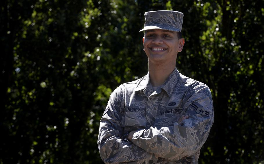 """Airman 1st Class Daniel Sanchez, 86th Airlift Wing Public Affairs broadcast journalist, coined the motto """"Semper Supra"""" for the military's newest service branch, the Space Force."""