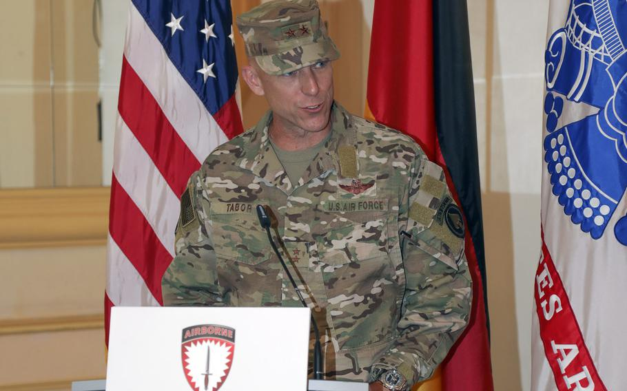The new commander of U.S. Special Operations Command Europe, Air Force Maj. Gen. David H. Tabor, speaks at the unit???s change of command ceremony in Stuttgart, Germany, Aug. 3, 2020.  He replaces Maj. Gen. Kirk W. Smith as commander.