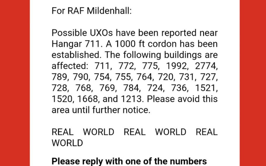RAF Mildenhall received an evacuation notification Tuesday, Aug. 4, 2020, after a possible unexploded ordinance was discovered near hangar 711.   U.S. Air Force