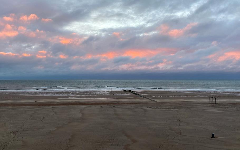 The North Sea at Oostend, Belgium at sunset. Official military travel for U.S. European Command personnel to Belgium and Spain now requires official approval, but leisure travel is allowed. Policy at some commands within Europe remained unclear Tuesday.