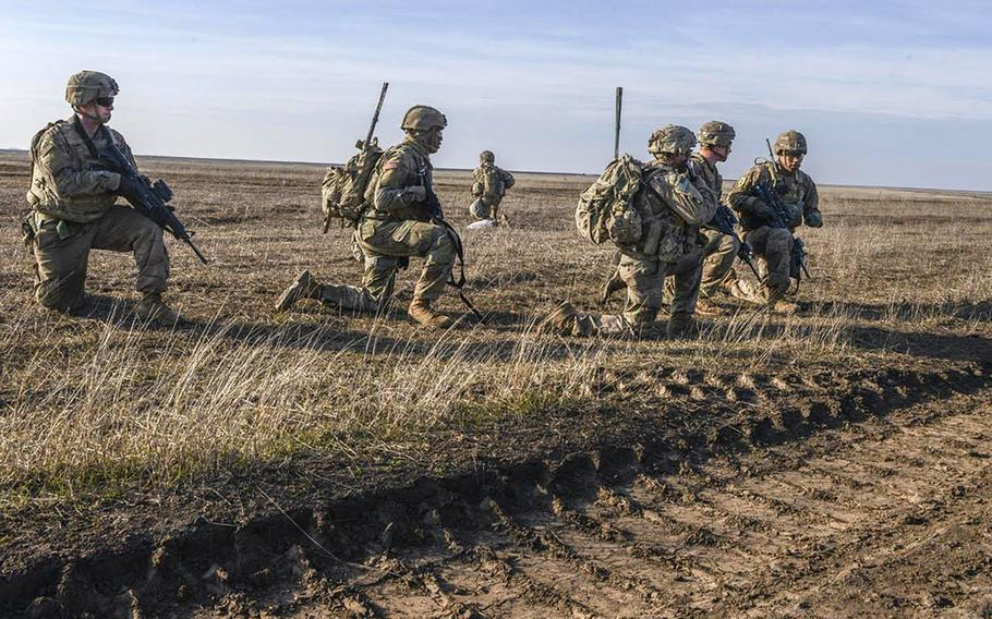 Soldiers with the 1st Cavalry Division clear an open engagement area during a Combined Arms Live Fire Exercise in Galati, Romania in February 2020. More U.S. troops could be going to Romania as part of the plan to reduce forces in Germany, Defense Secretary Mark Esper said on Aug. 4, 2020.