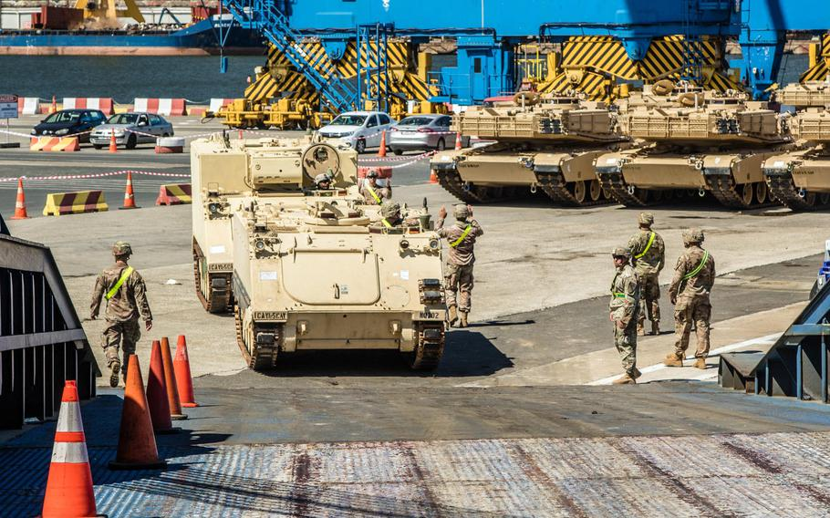 Soldiers of 2nd Armored Brigade Combat Team, 1st Cavalry Division, conduct port operations in Constanta, Romania, July 10, 2020, as they prepare to return to the U.S. following a nine-month deployment in support of Operation Atlantic Resolve.