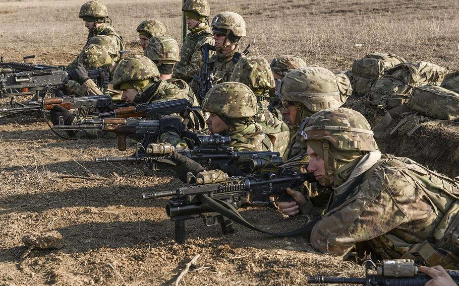 Soldiers with the 2nd Armored Brigade Combat Team, 1st Cavlary Division, and multinational partner forces conduct a rehearsal for a Combined Arms Live Fire Exercise  in Galati, Romania in February 2020. More U.S. troops could be going to Romania as part of the plan to reduce forces in Germany, Defense Secretary Mark Esper said.