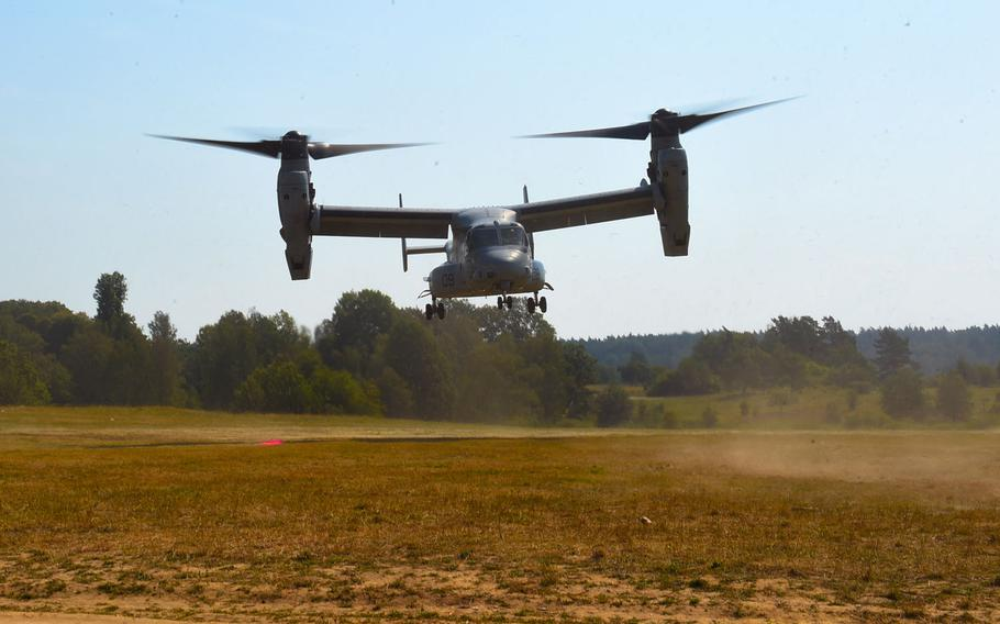 A Marine MV-22 Osprey takes off at Grafenwoehr training area in Germany on Aug. 10, 2020, during the Army-led Saber Junction exercise. The Marines, who are thought to be taking part in Saber Junction for the first time, flew at least three Ospreys from Spain to Germany for the exercise, which runs until the end of August.